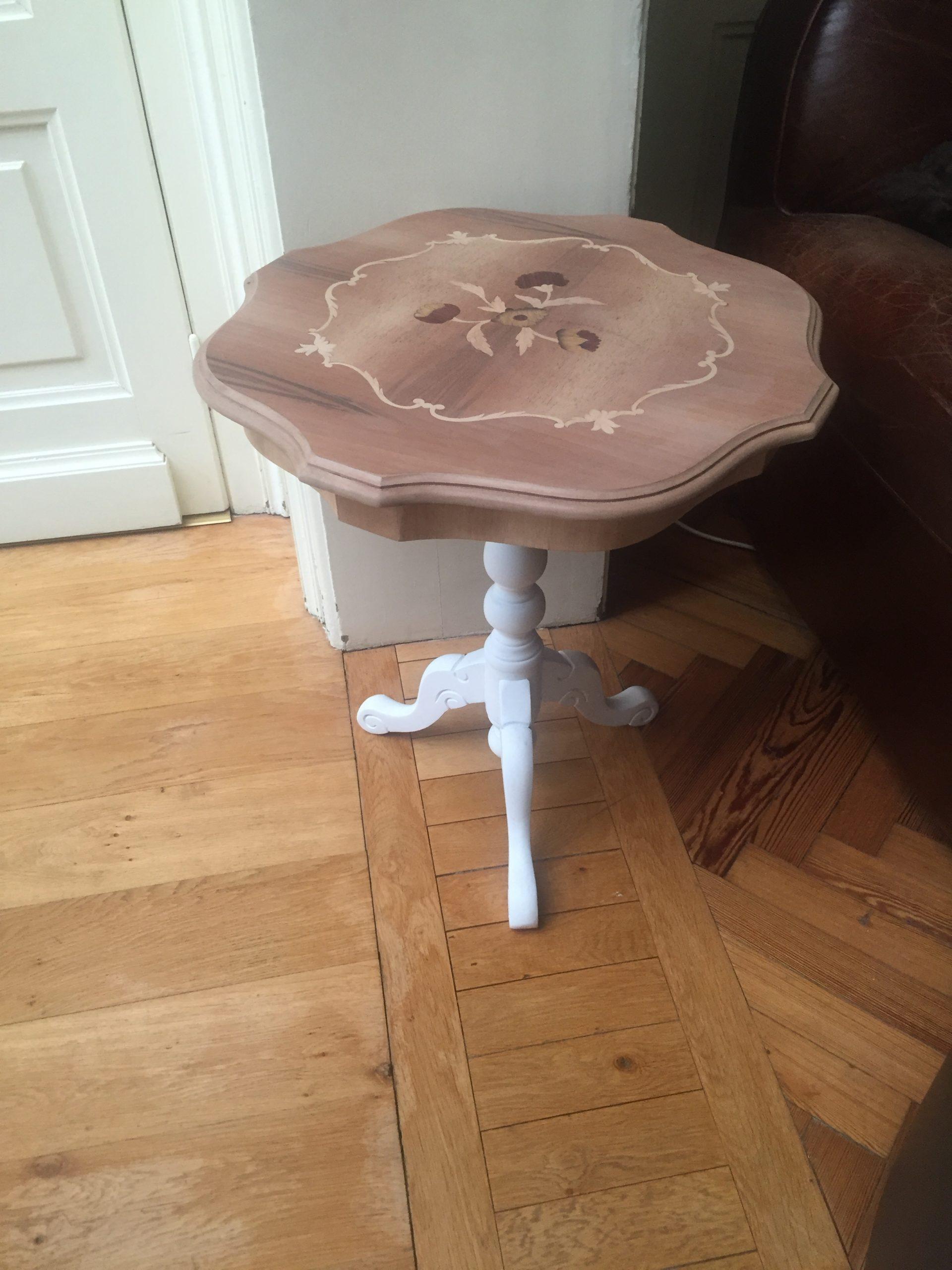 gueridon restauré decoration table d'appoint blanc et bois