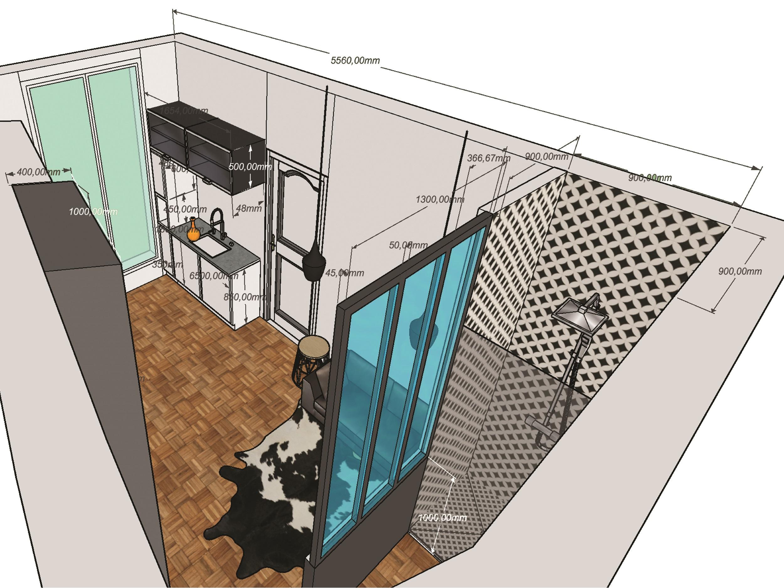 Studio chambre de bonne - mesure de la douche et verriere - Elahé Déco