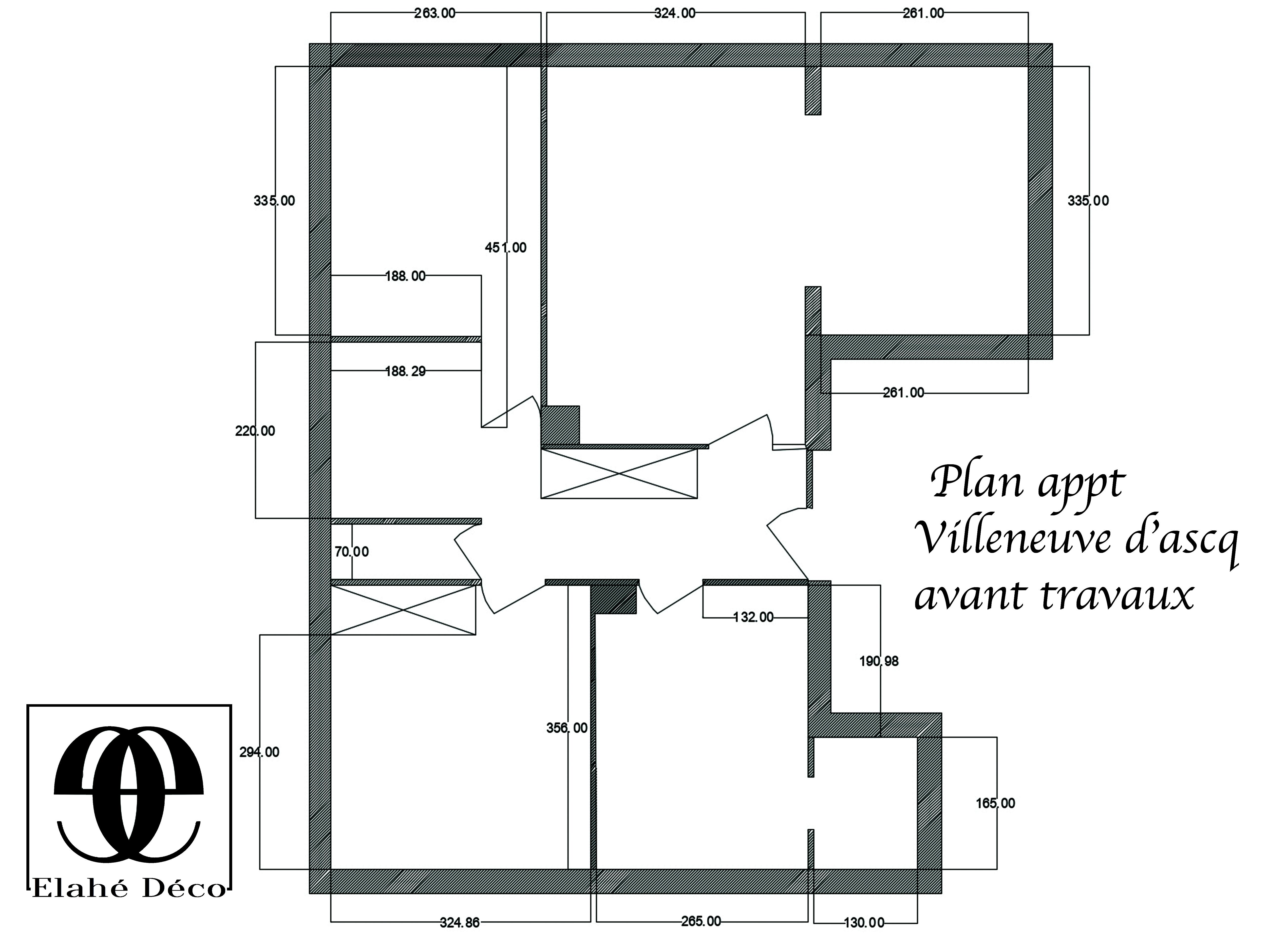 plan avant travaux d'appartement à Lille par Elahé deco