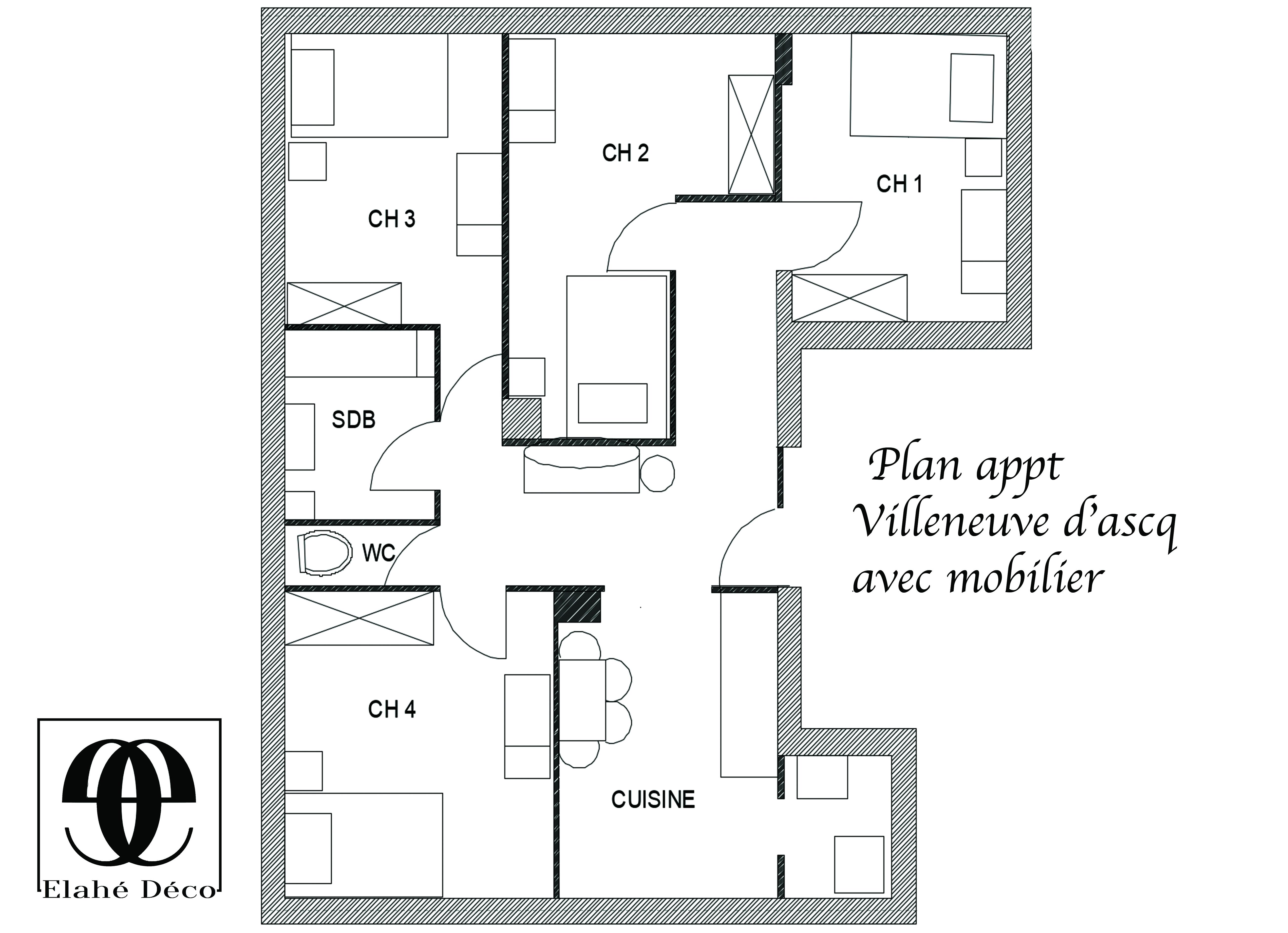 plan d'un appartement à lille par Elahé deco avec mobilier