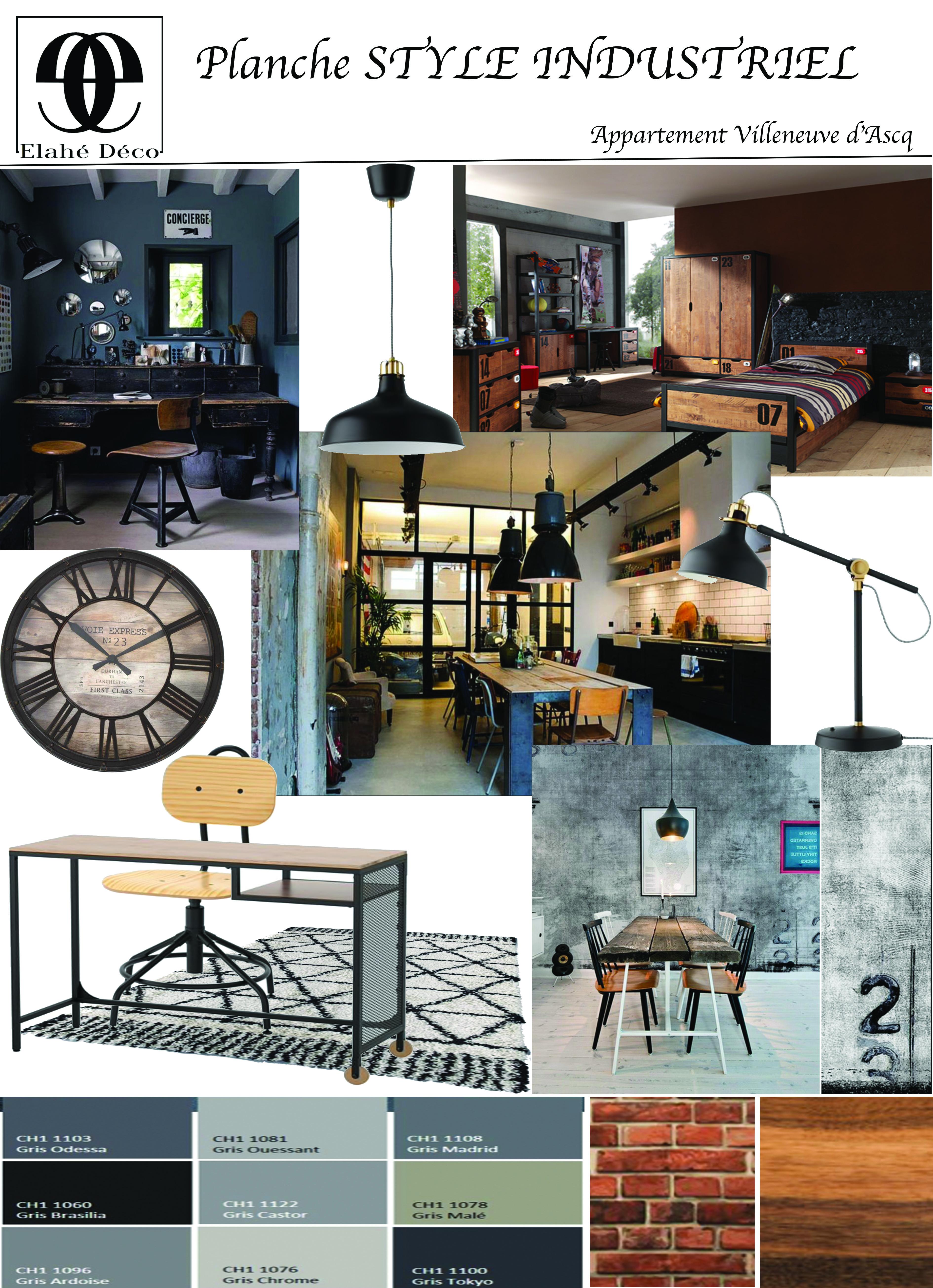 planche d'ambiance style industriel pour l'appartement de Lille