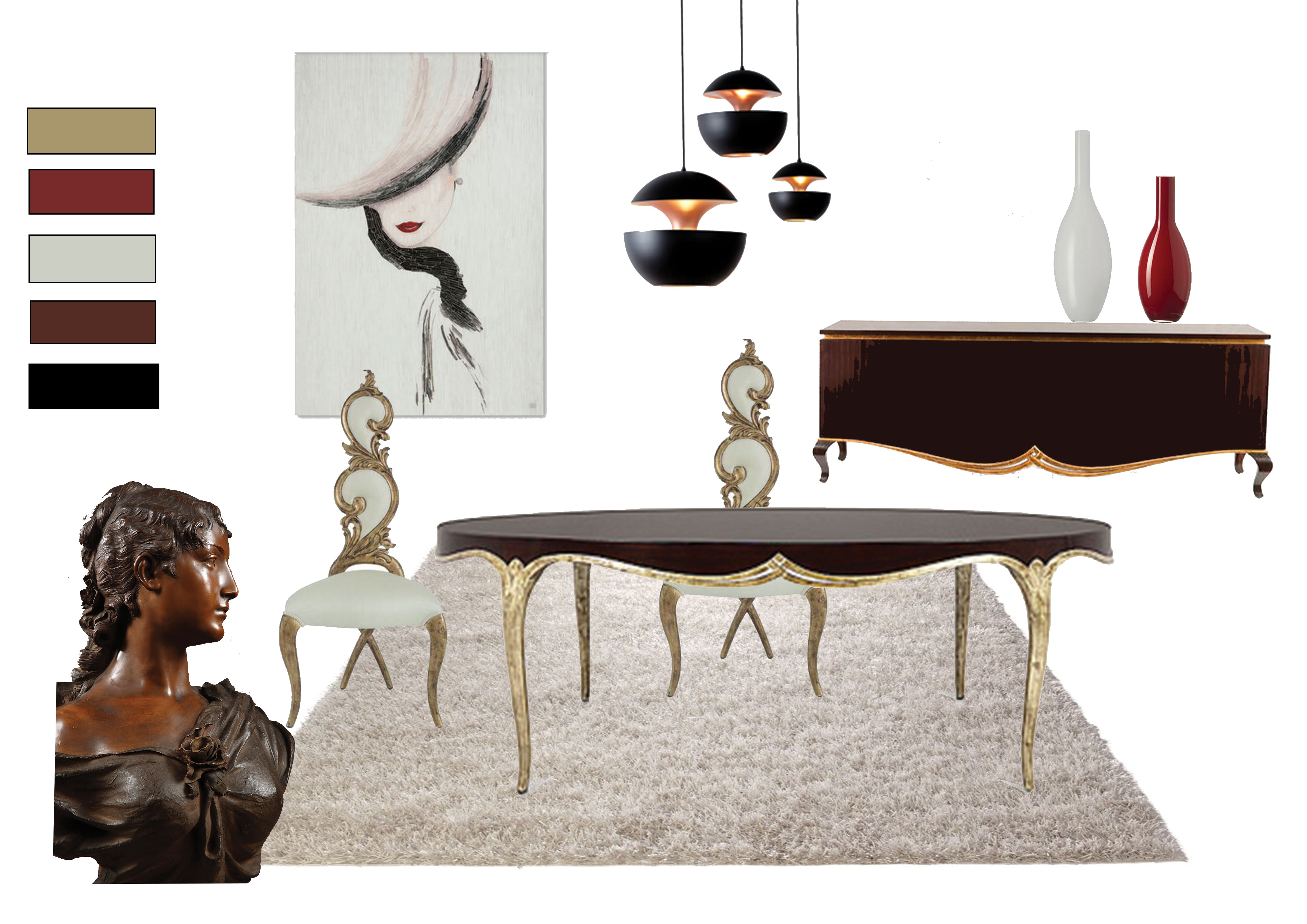 planche de mobilier de salle à manger style art déco