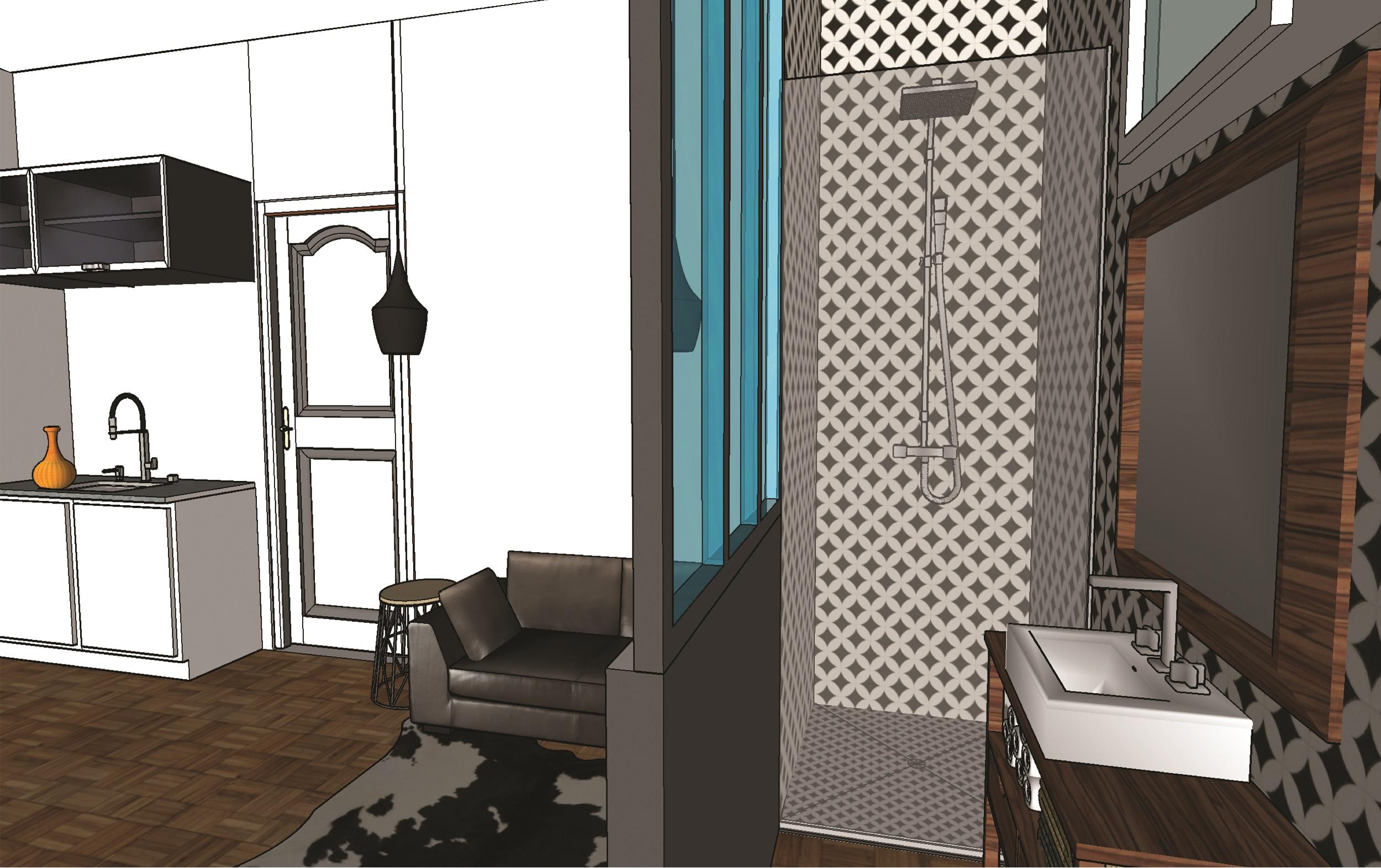 Studio chambre de bonne - vue salle de bain et chambre - Elahé Déco