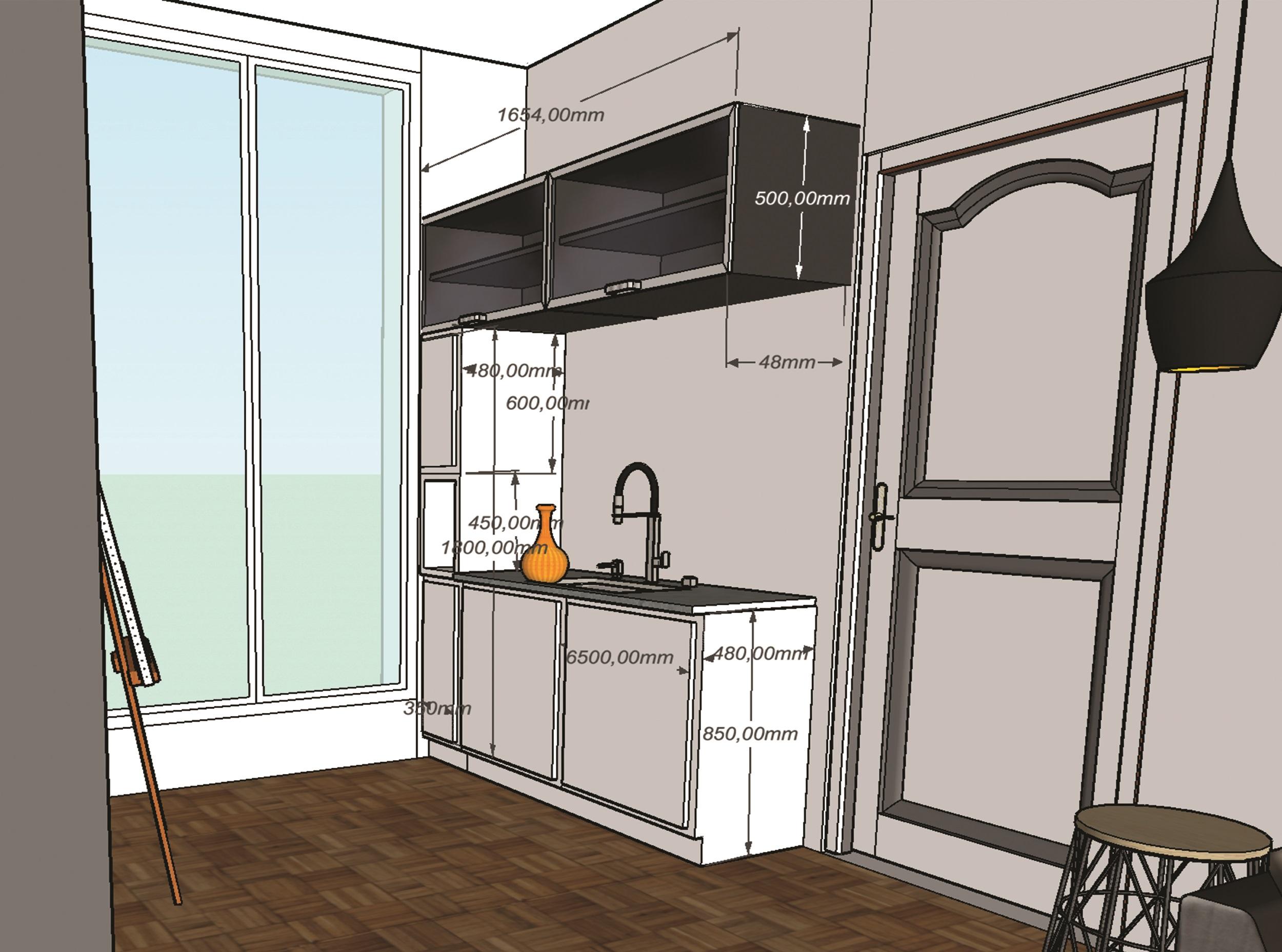 Studio chambre de bonne - mesure cuisine et rangements - Elahé Déco