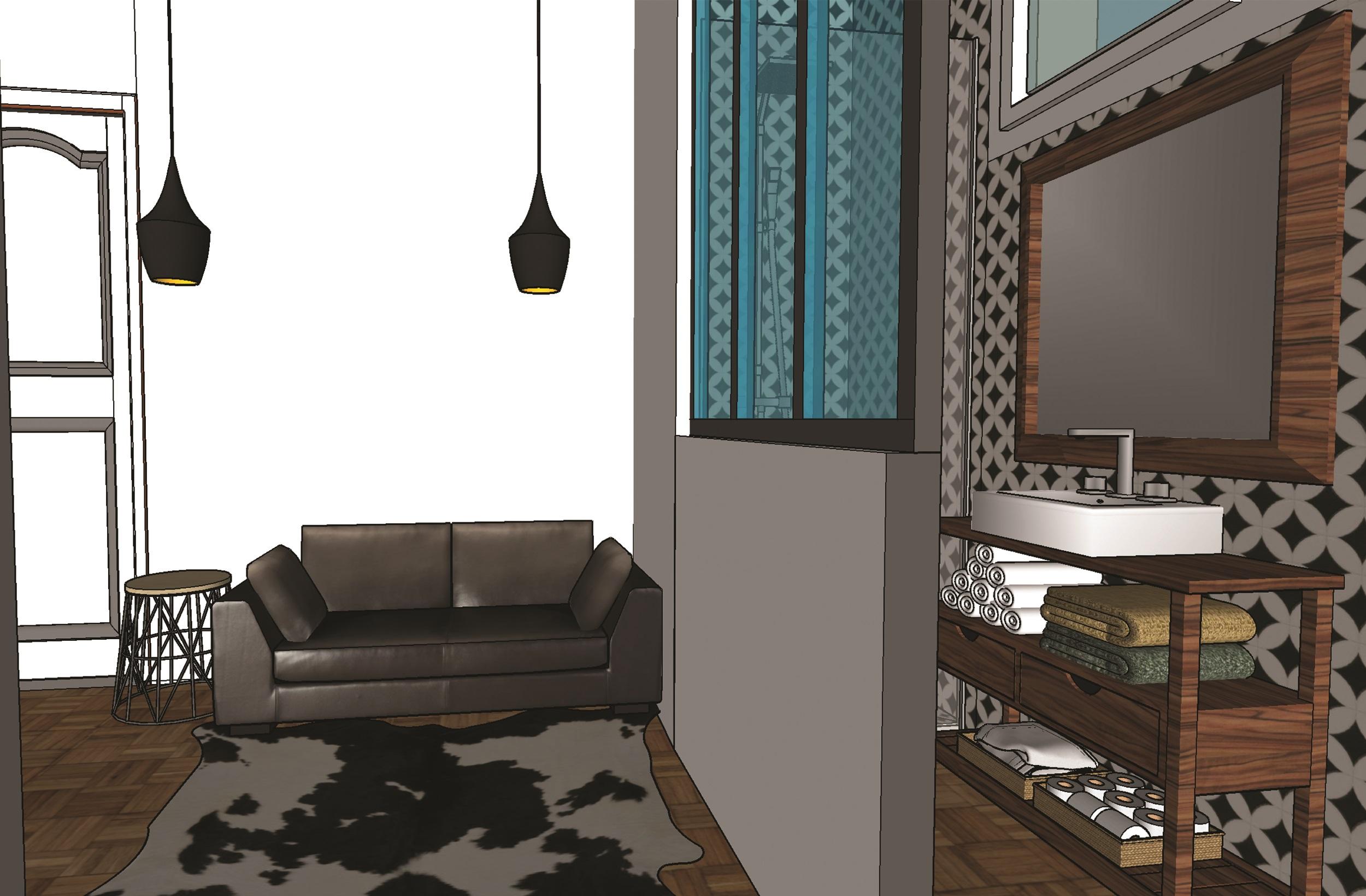 Studio chambre de bonne - vue canapé - Elahé Déco