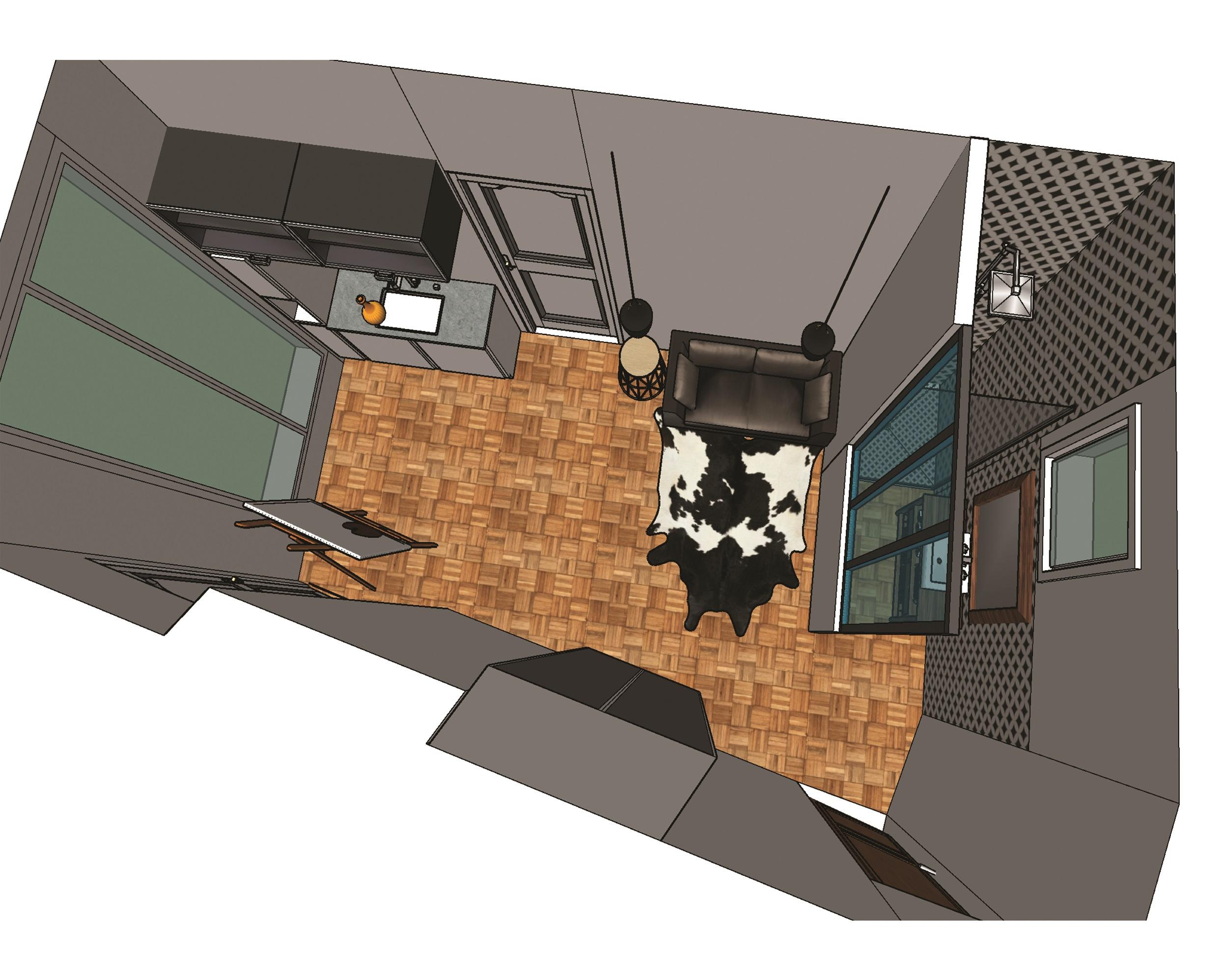 Studio chambre de bonne -vue de haut