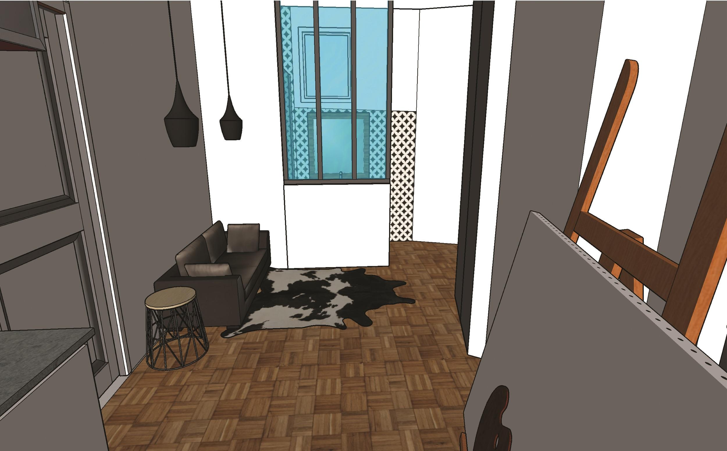 Studio chambre de bonne -vue de la grande fenêtre - Elahé Déco